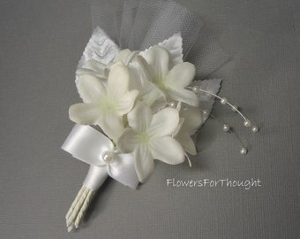 Stephanotis Boutonniere, White Wedding Groom Flowers, Pearls, Tulle