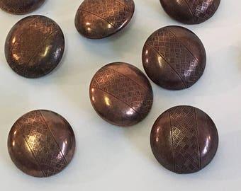 """7/8"""" Copper Dome Button, Engraved Copper Button, Round Copper Button, Copper Metal Shank Button, Etched Button, Round Etched Button, Vintage"""