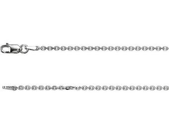 14K White Gold Diamond Cut Cable Chain, 24 inches Long 1.75 mm CH125WG