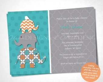 Stacked Elephant Baby Shower Invitation - Orange Teal - DIY Printable