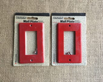 Switch Plate Cover, Wall Plate, Outlet Cover, 1980's Switch Cover, 2 Red Switch Covers