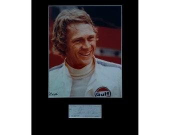 STEVE McQUEEN AUTOGRAPH photo display Le Mans