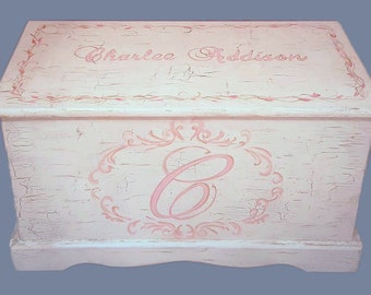 Custom Shabby Chic Hope Chest or toy box with a verse of your choice on inside of lid, monogramed or personalized with name on top