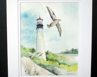 FLORIDA LIGHTHOUSE - Original Watercolor Painting, Seacape, Coastal Art, Seacapes Wall Art, Home Decor, Lighthouse Decor