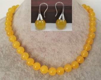 jade set- 12 mm yellow jade necklace & earrings set