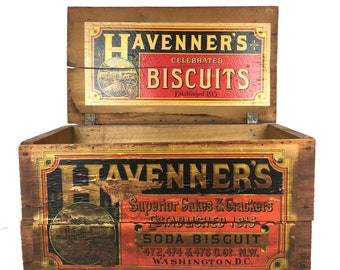 Antique Wood Crate Antique Biscuit Crate 1920s Havenners Biscuit Wood Crate Box Original Paper Label Antique Advertising Soda Biscuit Crate