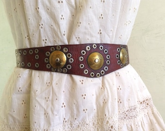 1940s Moroccan studded leather metal belt
