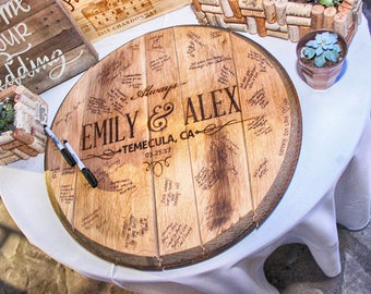 CUSTOM Reclaimed Bourbon Barrel Head Wedding Guestbook