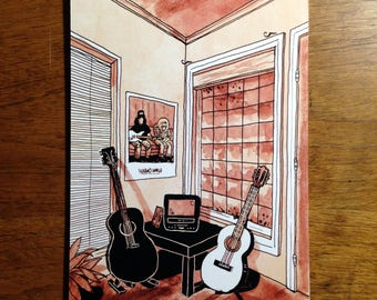 """Two guitars and a Small TV, sitting in the corner - 5x7"""" Art Print"""