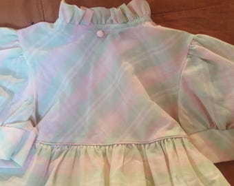 Vintage pretty soft pink and light green spring girls' dress