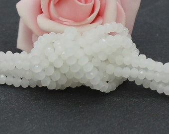 100 glass faceted beads of 3 x 2 mm white color PV148