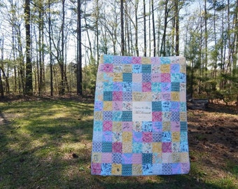Name Plate Guest Book Quilt, You Choose Size, Autograph Quilt, Wedding Quilt, Anniversaries, guest book alternative, You pick fabrics