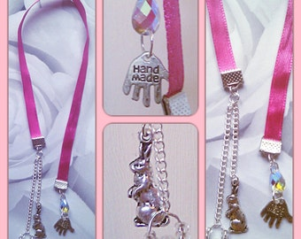 Beautiful Bookmarks, Rabbit Bookmark, Bookmark, Cute Charms Bookmarks, Reading Gift, Girls Bookmark, Bookworm Gift, Pink Bookmark,