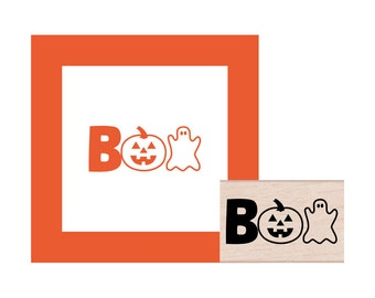 BOO Halloween Rubber Stamp