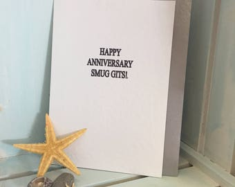 Anniversary Card, Funny Card, Humorous Card, Greeting Card, Smug Gits Card, Cheeky Card, Naughty Cards, Personalised Cards,  Dotty Diva