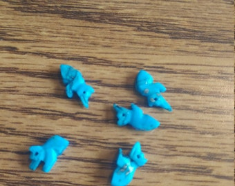 Vintage Turquoise Bear Fetish Beads. Native American. LIMITED QUANTITY (2040082A)