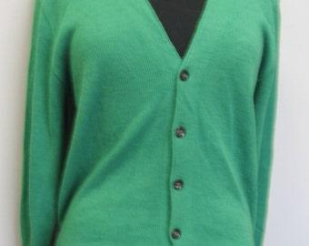 Men's green cardigan sweater