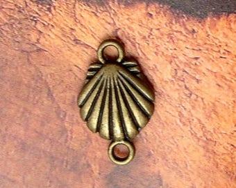 Set of 20 charms connectors shell saint jacques bronze metal