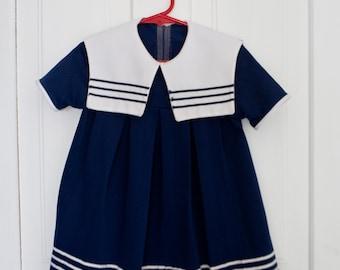 Vintage Baby Dress Vintage Blue Embroidered Lace Dress Size 3T Small Toddler Blue Dress Boat dress Sailor Dress