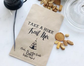 Birthday Favor Bags - Take a Hike! - Trail Mix Favor Bags - Custom Printed on Kraft Brown Paper Bags