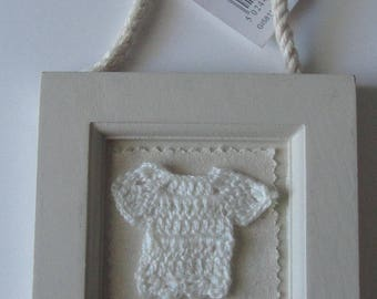 For the room of your child, very nice frame with crochet sweater