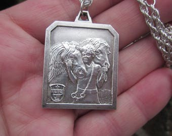 Large square HORSE contest stamped BRAKEL 1979, Belgium bright Silver plated medal+ FREE chain