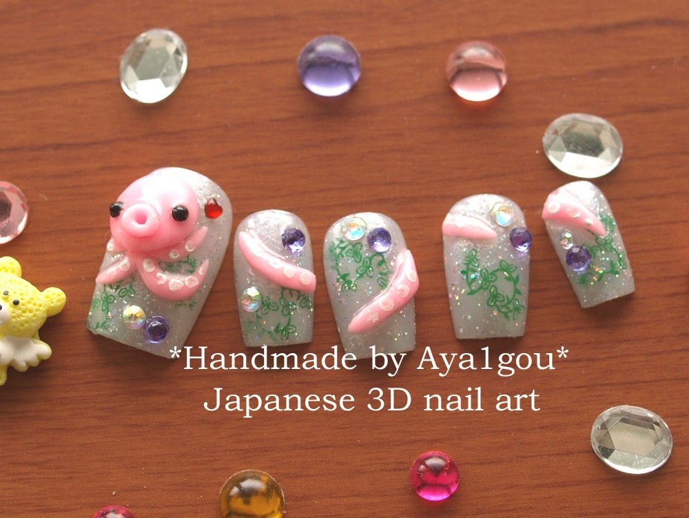 Octopus, squid, 3D nails, sea animal, nautical, kawaii nails ...