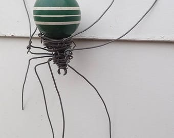 Green With White Stripe Croquette Ball Barbed Wire Spider Repurposed  Art