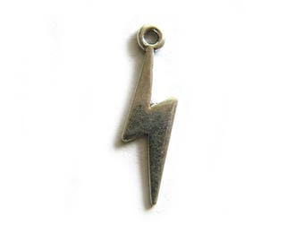 10 Silver Lightning Bolt Charms - 29mm