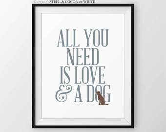 All You Need Is Love And A Dog Quote Dog Mom Gift Animal Lover Gift Dog Art Gift For Her Dog Mama Dog Art Print Dog Poster Pet Gift