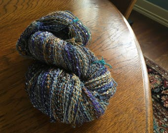 Handspun BFL WOOL plyed with sequin thread