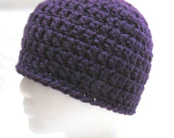 Purple Hat, Cap, Skull, Ski, Cycle, Hike, Jog, Beanie, Crochet knit, Thick, Chunky, Bohemian, Steampunk, Mans, Womans, Unique Unusual