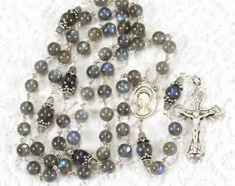 Labradorite Women's Rosary - Grey, Blue, Yellow Gemstone Beads - Handmade, Custom for Catholic Prayers, Bali Sterling Silver, Madonna Center