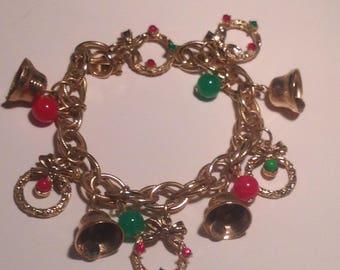 Vintage Christmas Bells and Wreaths Charn Bracelet
