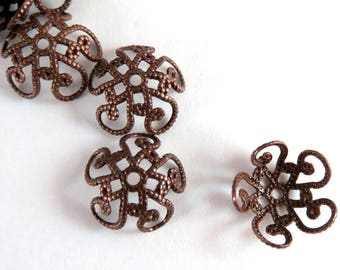 25 Antique Copper Bead Caps Fancy Flower 10mm Plated Brass - 25 pc - F4080BC-AC25