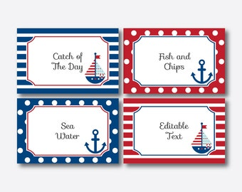 Instant Download, Editable Nautical Food Labels, Food Tags, Buffet Cards, Nautical Decoration, Nautical Printable, Anchor, Sailboat (SBS.01)