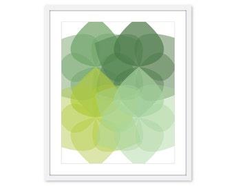 Green Geometric Flowers Print - Modern Home Decor - Modern Flower Art - Mid Century Flower Art - Flower Wall Art