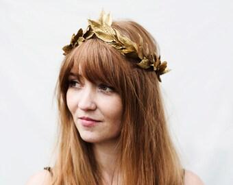 Gold Leaf Crown, Gold Leaf Headband, Hair Garland, Greek Laurel Leaf Crown, Hair Laurel, Gold Leaf Crown, Toga Costume, Gold Leaf, Boho