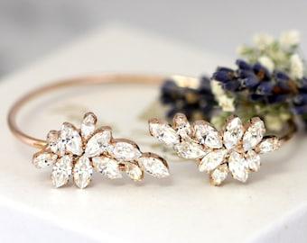 Bridal Bracelet, White Crystal Wedding Bracelet,Swarovski Crystal Cuff Bracelet,Bridal Cuff Bracelet,Bridesmaids Gold Bracelet,Cuff Bracelet