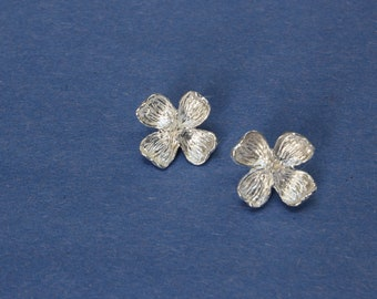 earring, dogwood blossom studs, sterling silver