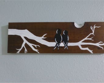 Wooden Birds and Branch Wall Art | Wall Art Birds and Branch | Wooden Birds and Branch Painted Wall Decoration