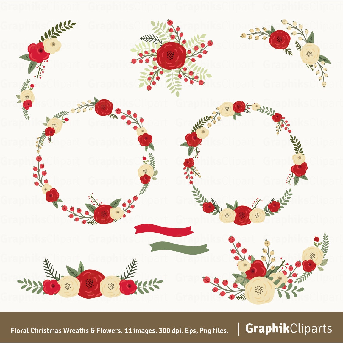 Christmas Wreaths Flowers Clipart Christmas Clipart Floral