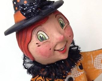 Halloween Hannah - EHAG - Hand sculpted, OOAK, original paper mâché, Halloween, witch, hand puppet, wood stand by artist Alycia Matthews