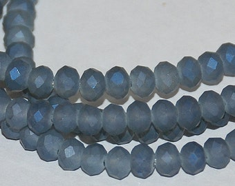 24 pcs 4x3mm Frost Dark Grey with Cobalt Blue Highlights Faceted Rondelle Glass Beads FGCBH