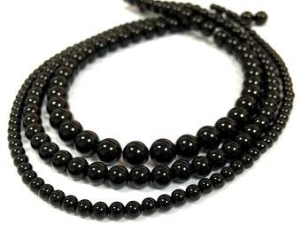 Black Onyx Beads Black Beads Natural Black Beads Black Onyx 2mm 3mm 4mm Beads Gemstone Beads Black Onyx tiny Beads Black Onyx Spacer Beads