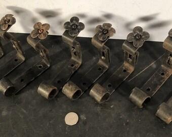 Set 8 antique vintage wrought iron adjustable projection curtain rod brackets