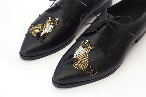 Black Elegant Gold Shoes Shoes Oxfords Shoes Oxford Retro Shoes Shoes Shoes Women's Unique Oxford Women Flat Shoes Custom and Made xP4SxzwWqO