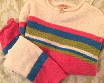 Vintage colorful striped sherpa sweater