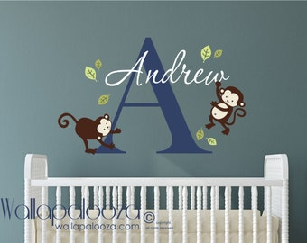Monkey Wall Decal   Boys Name Wall Decal   Childrens Wall Decals    Personalized Name Vinyl