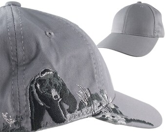 Custom Personalized Black Bear Large Embroidery Adjustable Full Fit Grey Baseball Cap Front Decor Selection with Options for Side and Back